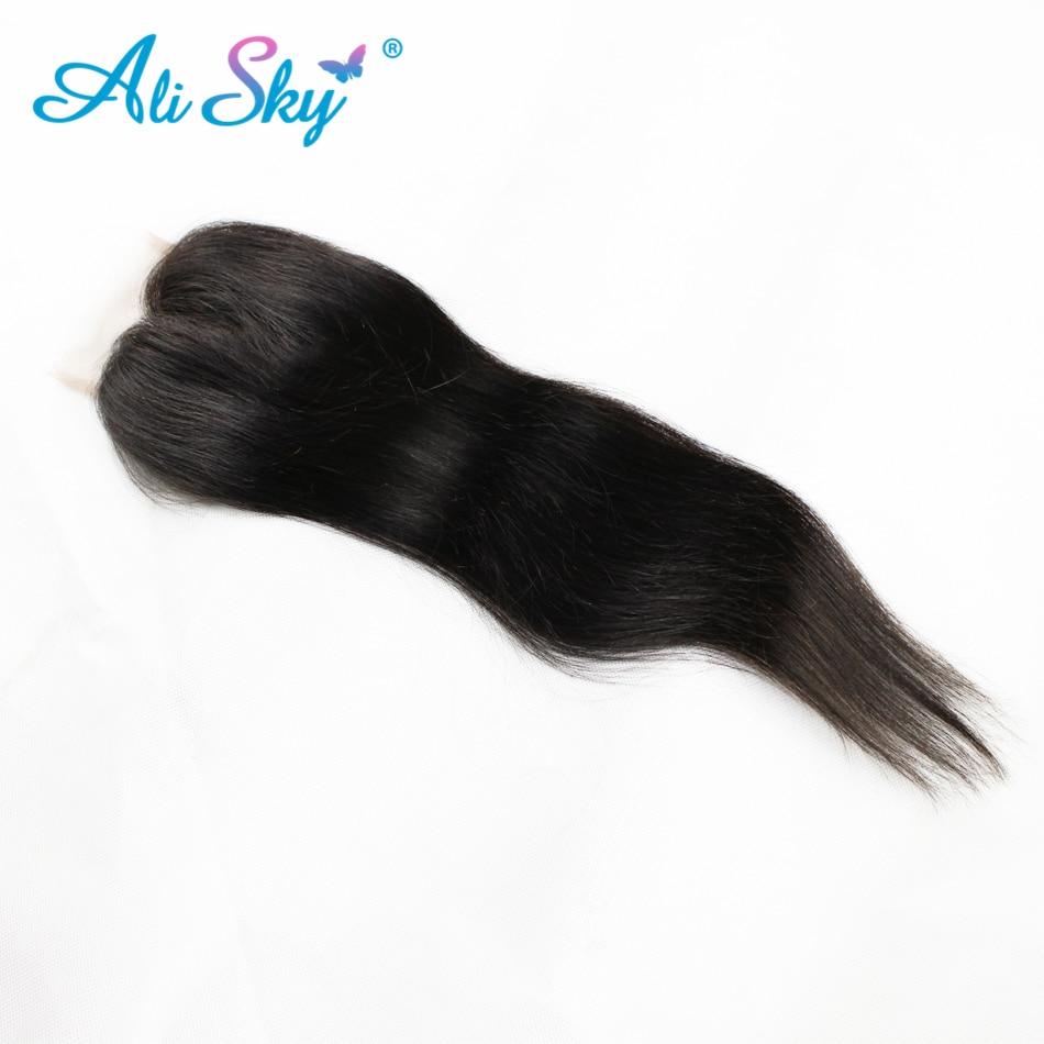 Brazilski naravnost lasje 4 snopi z 1pcs vrhnje čipke zaprtje 100% - Človeški lasje (za črne) - Fotografija 2