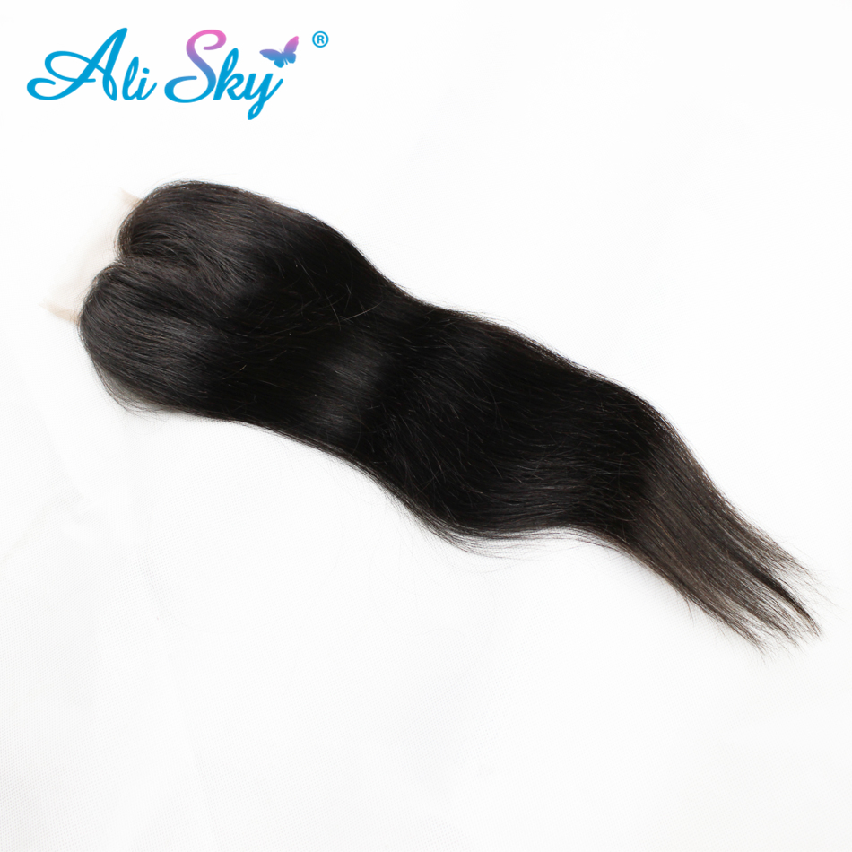 Brazilian Straight Hair 4 Bundles With 1pcs Top Lace Closure 100% Human Hair Weaves non remy Black 1b No Tangle No Shedding