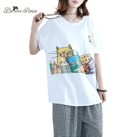 BelineRosa T Shirts Women 2017 Summer Cute Cat Kawaii Character Printing Casual Cotton T Shirts For