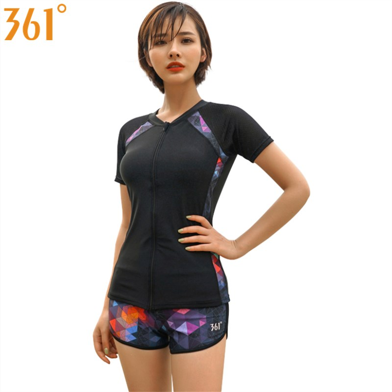 361 Women Tankini With Shorts Female Swimsuit Sports Swimwear M-XXL Two Pieces Bathing Suits Short Sleeve Surfing