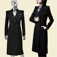 winter new military uniform double breasted maxi winter coats woolen long trench coat