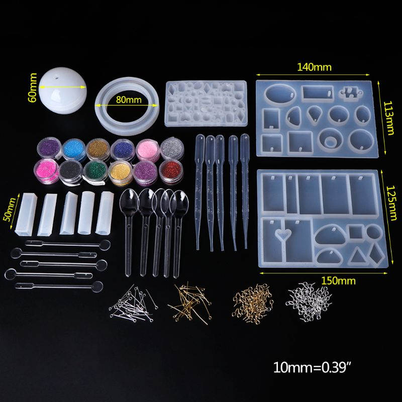 1 Set Silikon Form Epoxy Harz Handwerk DIY Schmuck Machen Werkzeuge Mit Glänzenden Pulver Löffel Mischen Stick Verschluss Anhänger Halskette