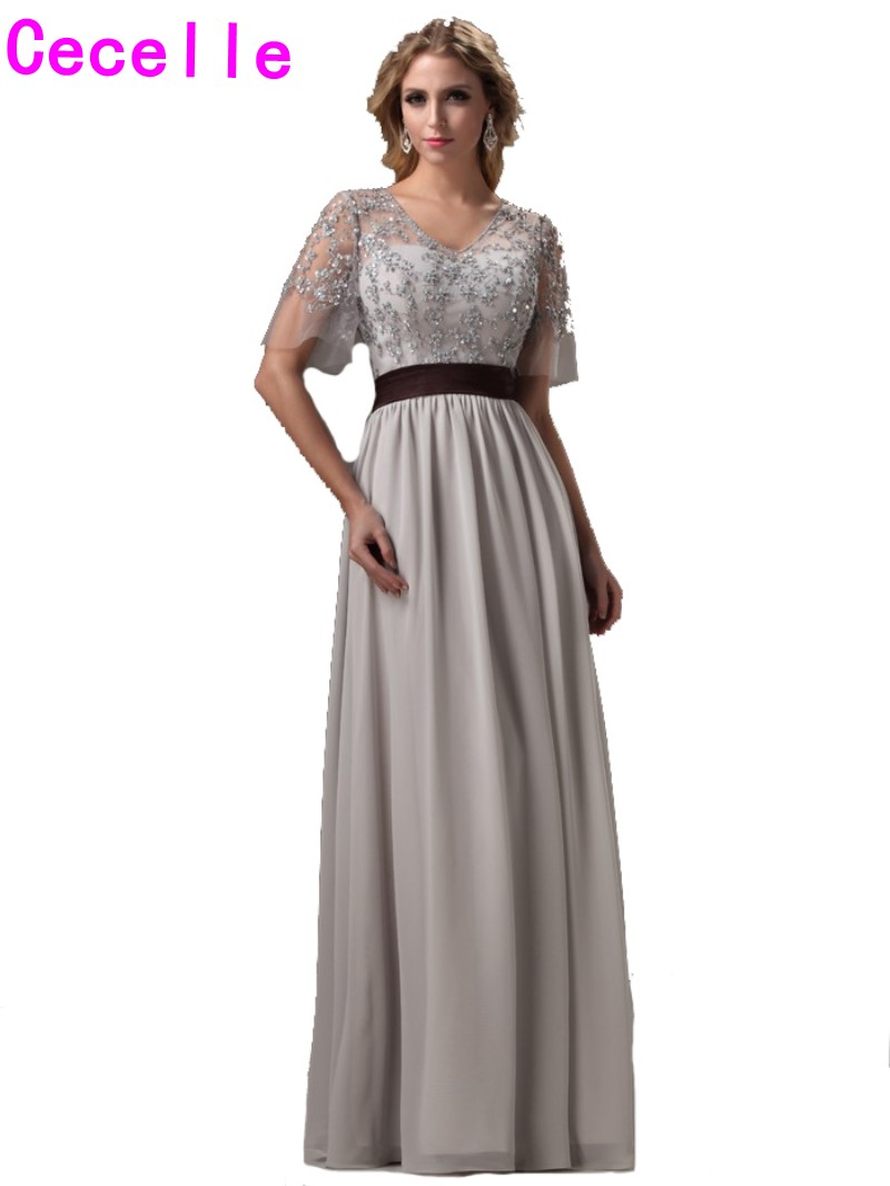 Long silver dresses bridesmaids promotion shop for promotional 2017 real silver long bridesmaids dresses with sleeves beaded lace chiffon skirt floor length boho wedding party gowns custom ombrellifo Images