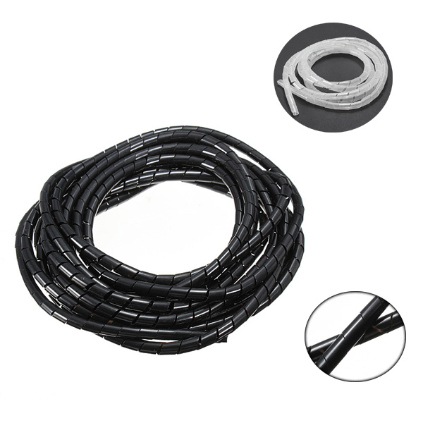 5M Black/White Spiral Wrapping Wire Organizer Sheath Tube Flexible Manage Cord 6mm Wire Cable Sleeves for PC Computer Home 2m 20mm diameter spiral wire organizer wrap tube flexible manage cord for pc computer home bundling hiding cable w clip white