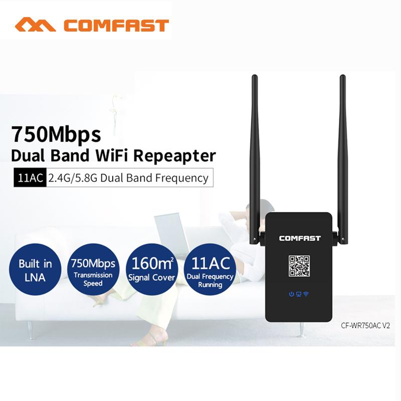 Prix pour Nouveau CF-WR750AC Professionnel Sans Fil Wifi Répéteur 750 Mbps Dual Band 2.4/5.8G Range Expander Signal Booster Extender