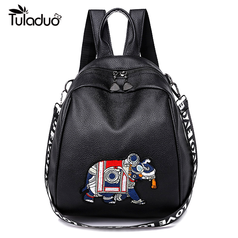 PU Leather Backpacks Female Fashion Elephant Embroidery Design Shoulder School Bags Girls White Crossbody Bag Travel Rucksack
