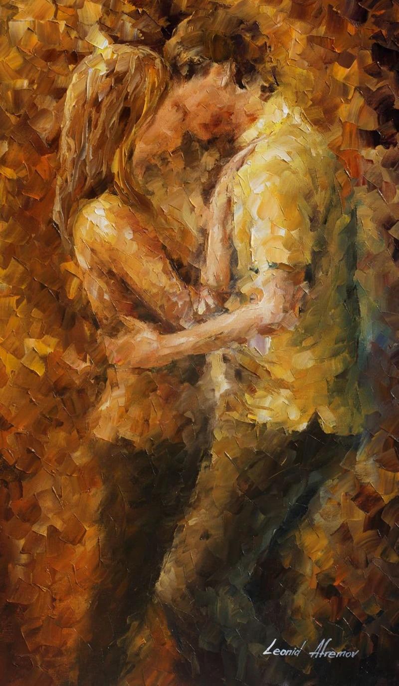 Pareja besándose. Pintura realizada por el artista Leonid Afrémov