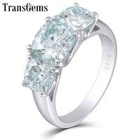 Transgems 10k White Gold Three Stone 2ct 7.5mm Cushion Cut Moissanite Engagement Ring for Women Fine Jewelry