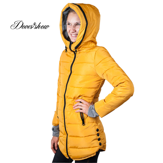 Women's Hooded Cotton-Padded Jacket Winter Medium-Long Cotton Coat