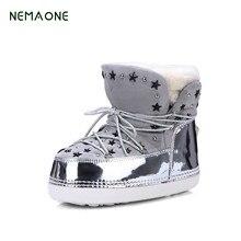 Nemaone новые зимние сапоги из натуральной кожи увеличилась Корейский кожа плюс кашемир теплые противоскользящие туфли из хлопка женские