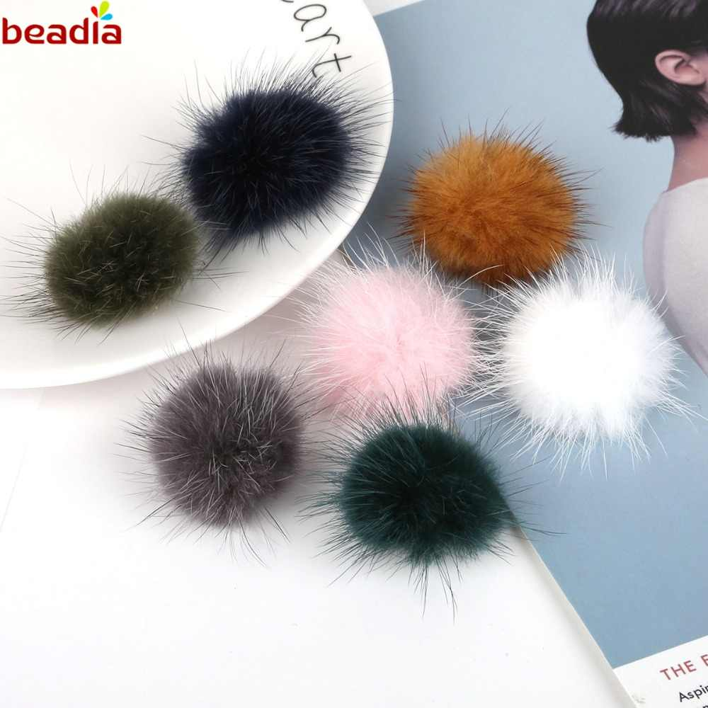 New Arrival DIY Pompom Ball Beads Artificial Mink Hair Fur Charm Pendant For Necklace Bracelet Earring Jewelry Making 1pc/lot