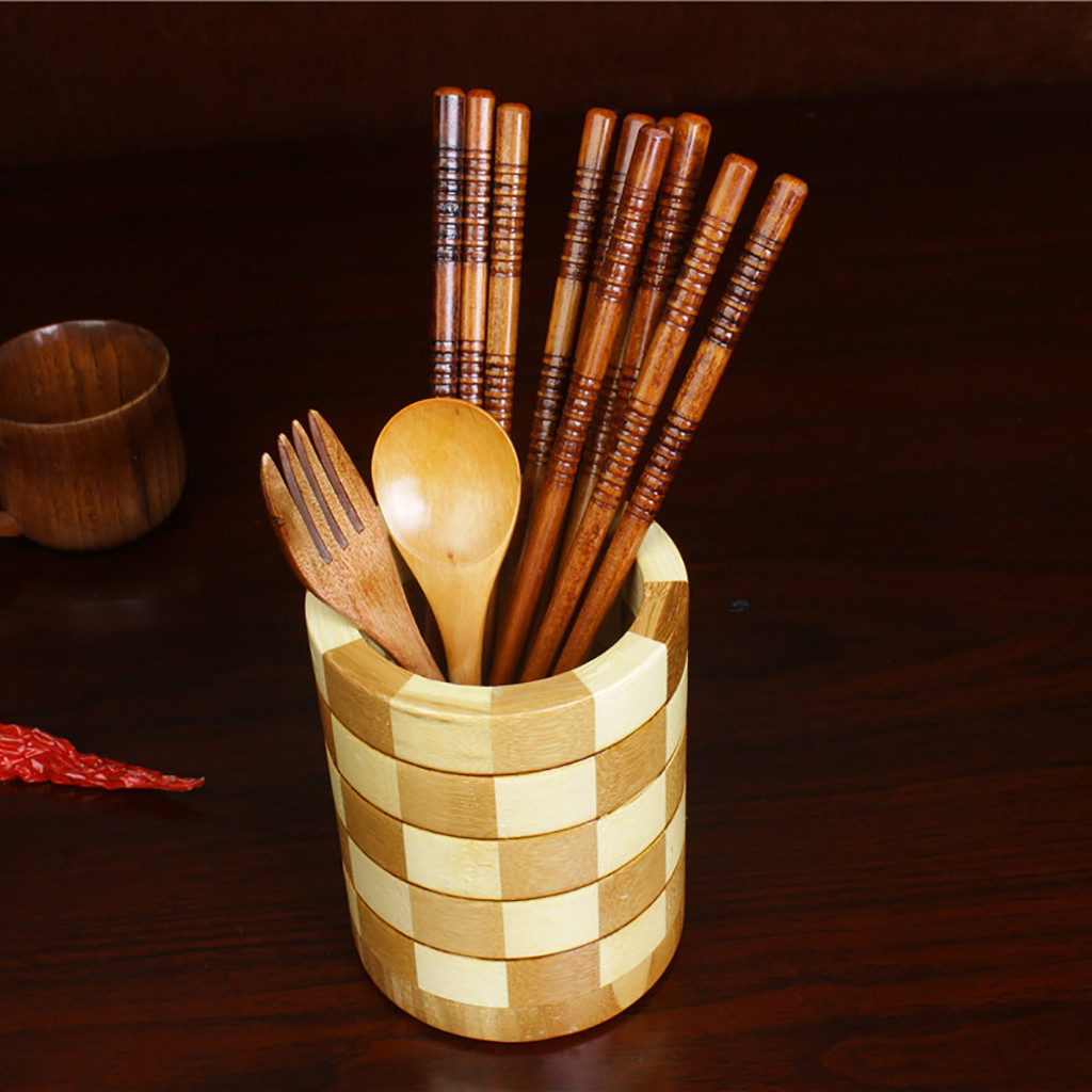 Round Lattice Bamboo Chopsticks Tube Cutlery Box Chopsticks Cage Creative Kitchen Wooden Frame Wooden Storage Box 12.5x10cm