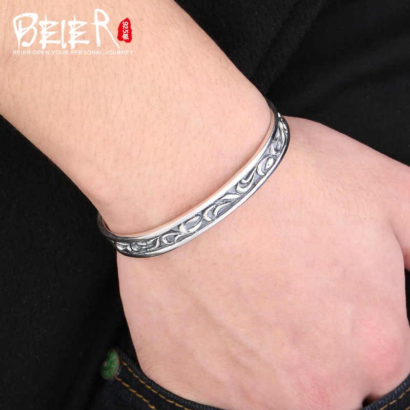 Beier браслет из стерлингового серебра 925 пробы Модный Романтический Высококачественный винтажный браслет с узором мужской и женский браслет BR925SZ008