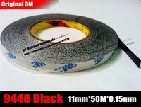 1x 11mm 50 Meters 3M Double Sided Adhesive Tape 9448 Black For Panel Nameplate Mobilephone Touch