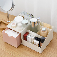 Desktop Cosmetics Storage Boxes Compartment Double Household Drawer Gift Box Cord Skincare Rack Dressing Table makeup organizer