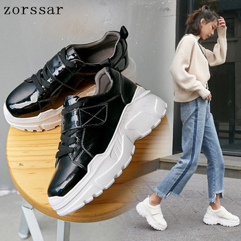 New 2019 Spring Women Flat Platform sneakers Shoes Patent leather Lace-up Woman Casual Shoes sport Flats Moccasins creepers