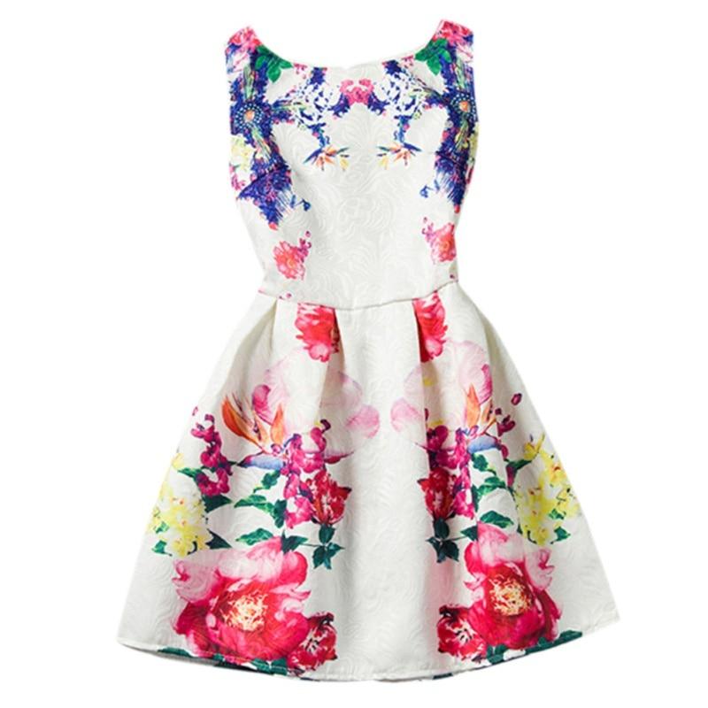 Spring Autumn Flowers Printed Dress Little Girls One-Piece Dress