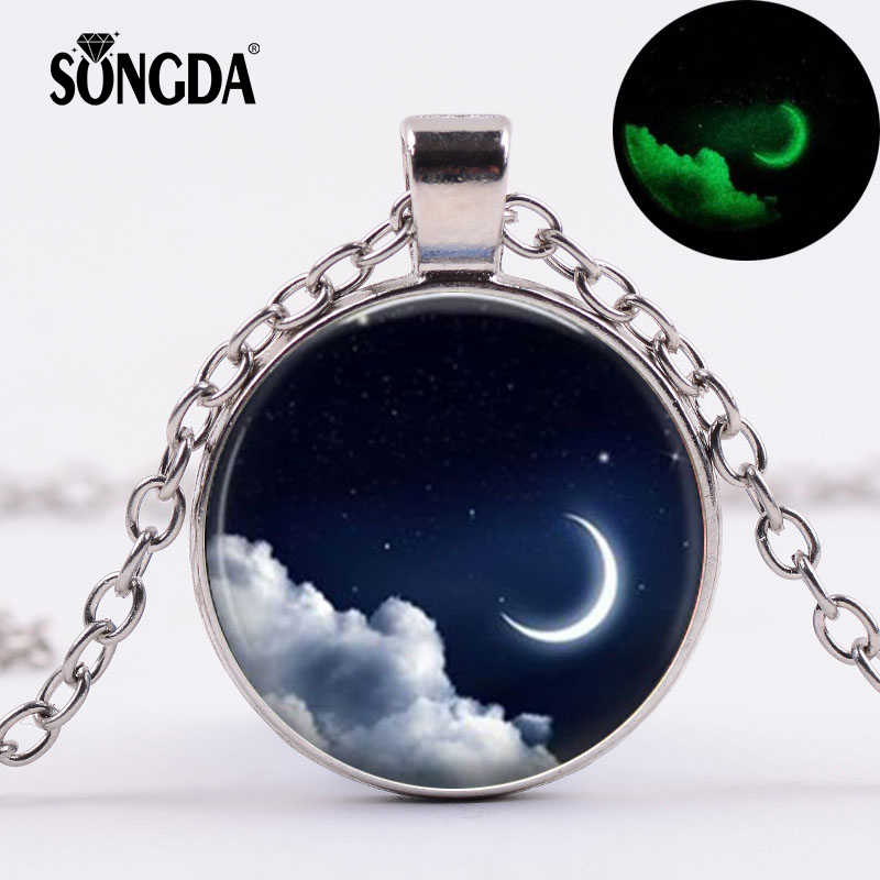 SONGDA Romantic Creative Good Night Necklace Shining In Dark Crescent Moon Crystal Glass Cabochon Luminous Pendant Choker Gift