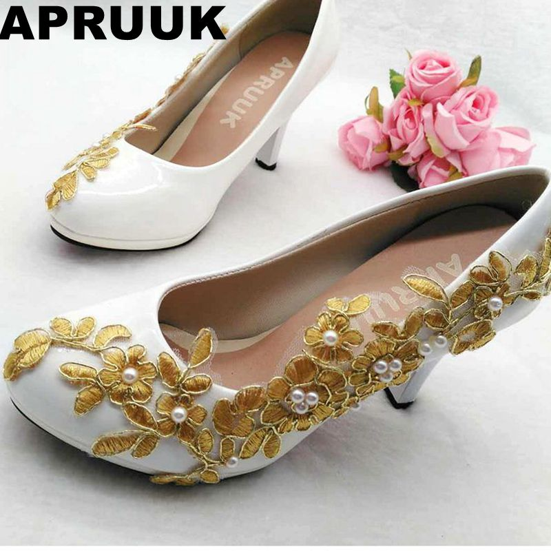 Gold wedding shoes woman platforms gold lace ivory pearls white brides wedding pumps shoes lady round toes proms party shoe women wedding shoes flat heel round toes plus size bride shoes lady female sweet lace pearls proms dress evening party shoes