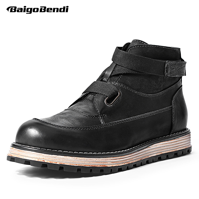 Must Have Men Full Grain Leather Hook Loop Boots British Style Black Man Casual Ankle Boots 2018 Trendy Shoes 2 colors 2017 new men s full grain leather business casual popular british style ankle boots rivets pointed toe shoes for men
