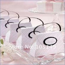 100 шт./лот) Свадебная коробка для душа, розовая клетчатая Сумочка, Подарочная коробка для розовых свадебных и вечерние коробок для конфет