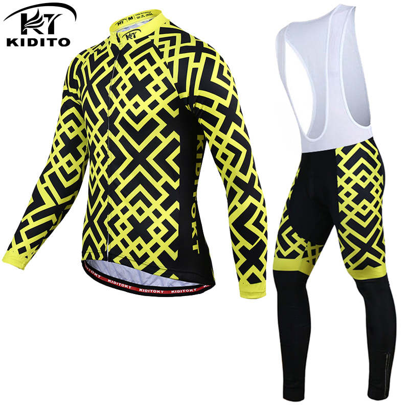 KIDITOKT Pro Winter Fleece Cycling Jersey Set Long Sleeve MTB Bicycle Clothing Thermal Bike Wear Invierno Maillot Ropa Ciclismo malciklo winter fleece thermal cycling jersey set long sleeve bicycle bike clothing pantalones ropa ciclismo invierno wears