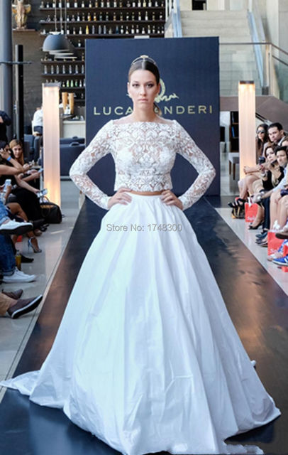 2016 bohemia barato vestidos de novia de encaje ilusión blusa de dos
