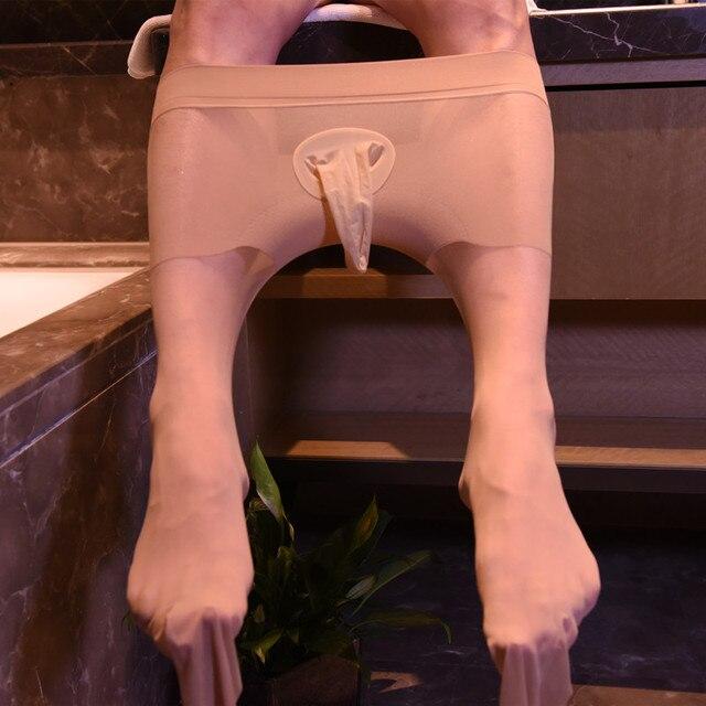 Mężczyźni Sexy rajstopy męskie pończochy męskie Penis płaszcza nie otwarte krocza egzotyczne rajstopy Gay striptizerka ubrania fetysz legginsy bielizna