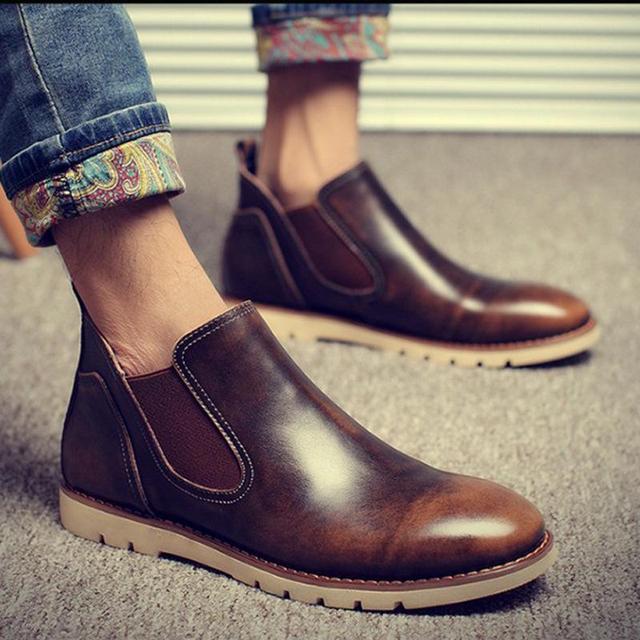 2017 последние мужские Ботинки Челси Пояса из натуральной кожи Эластичная лента круглый носок из коровьей кожи chakku лодыжки платье свадебная обувь