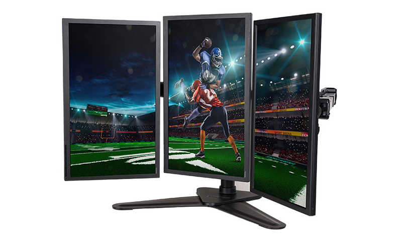 "10""-27"" Triple Screen Monitor Holder Mounting Arm Three LCD LED Display Stand Full Motion Free Lifting Loading 10kgs each D2T"