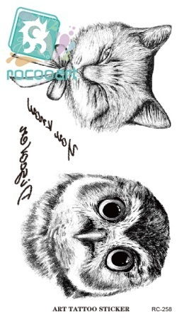 Rocooart RC2258 Disposable 3d Waterproof Tattoo Sticker Paiting Brush Drawing Owl Letter Large Temporary Tattoo Stickers New