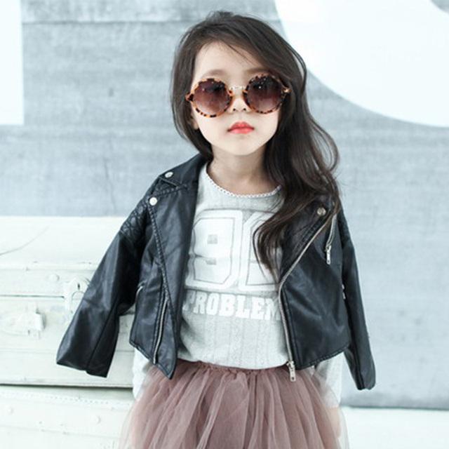 Primavera Moda Niños de la Chaqueta de Cuero de LA PU Chaquetas Chicas Ropa Niños Outwear Para Las Niñas Niños Ropa Abrigos Cremallera Traje