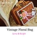 Ladies Vintage Floral Berry Suitcase Sweet Lolita Rattan Decorative Suitcase