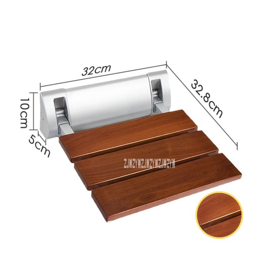 High quality Strengthen Solid Wood Bathroom Bath Shower Folding Seat Shower Wall Chair Bathroom Stool Wall Mounted Shower Seat