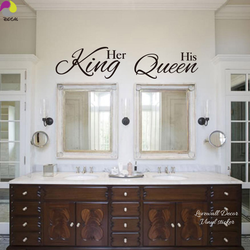 Her King His Queen Quote Wall Sticker Bathroom Hang Towel Mirror Bedroom  Sofa Wedding Floor Lettering Decal Vinyl Home Decor - Online Get Cheap His And Her Wall Stickers -Aliexpress.com