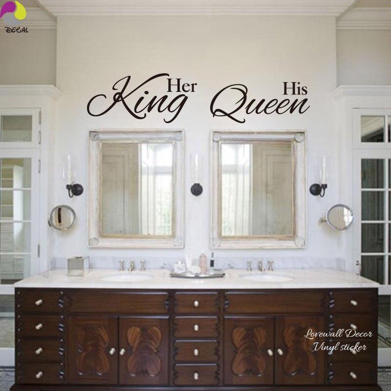 her king his queen quote wall sticker bathroom hang towel mirror bedroom sofa wedding floor lettering