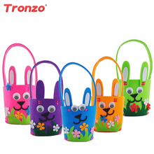 Tronzo Easter Basket Handmade DIY Bunny Basket Easter Party Decoration Home Rabbit Ears Bags With Egg For Birthday Kids Favors