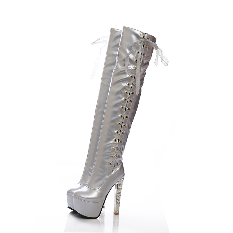 Women Cross tied Platform Crystal Clear Thin High Heels Thigh High Boots Spring Autumn Over The