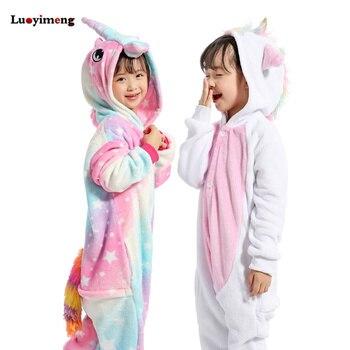 21211dc724 Niños Niñas franela estrella unicornio pijama mono niños jirafa Panda traje  Cosplay manta traviesas