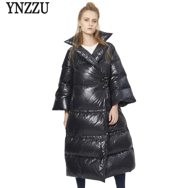 YNZZU Chic 2017 Winter Women Down Jackets Brand Loose Flare Sleeve Extra Long Warm Woman Down Coats Ladies Snow Outwear O290