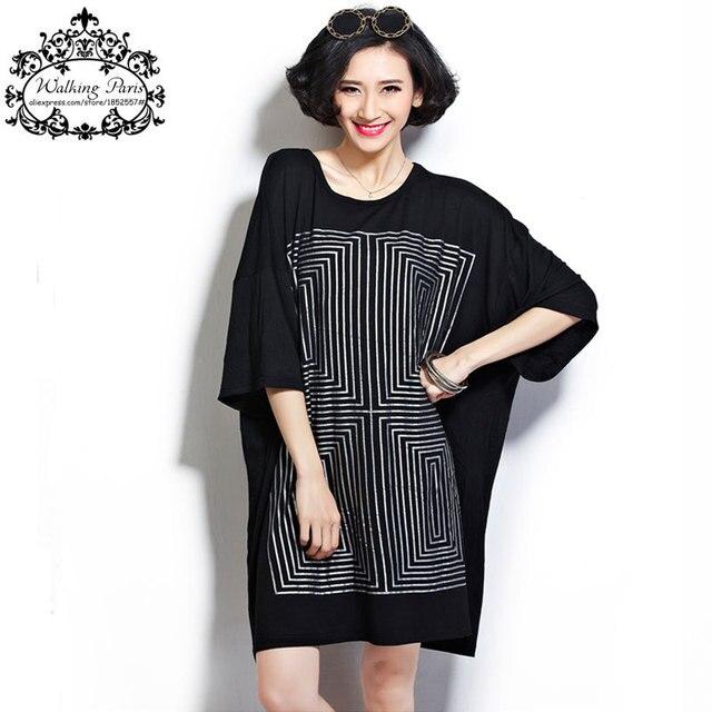c2921e366e1 New Summer Women s T-Shirt Plus Size Cotton Clothing Dresses Geometric Print  Casual Ladies Loose Dress Suit Large Size Sleeve