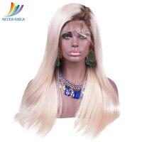 Sevengirls малазийский Омбре полный парик шнурка 2 #/60 # цвет прямой бесклеевой полный парик шнурка человеческих волос с волосами младенца для чер