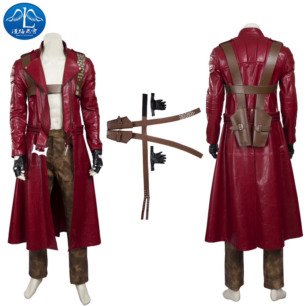 Devil May Cry 3 Dante Costume Halloween Dante Cosplay Costume Men Red Full Suit Men's Adult Cosplay Free Shipping Custom Made