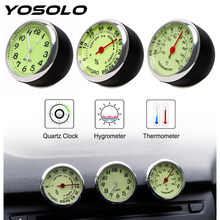 YOSOLO Mini Car Clock Thermometer Hygrometer Car-Styling Quartz Watch Ornaments Mechanics Luminous For Auto Home Decoration
