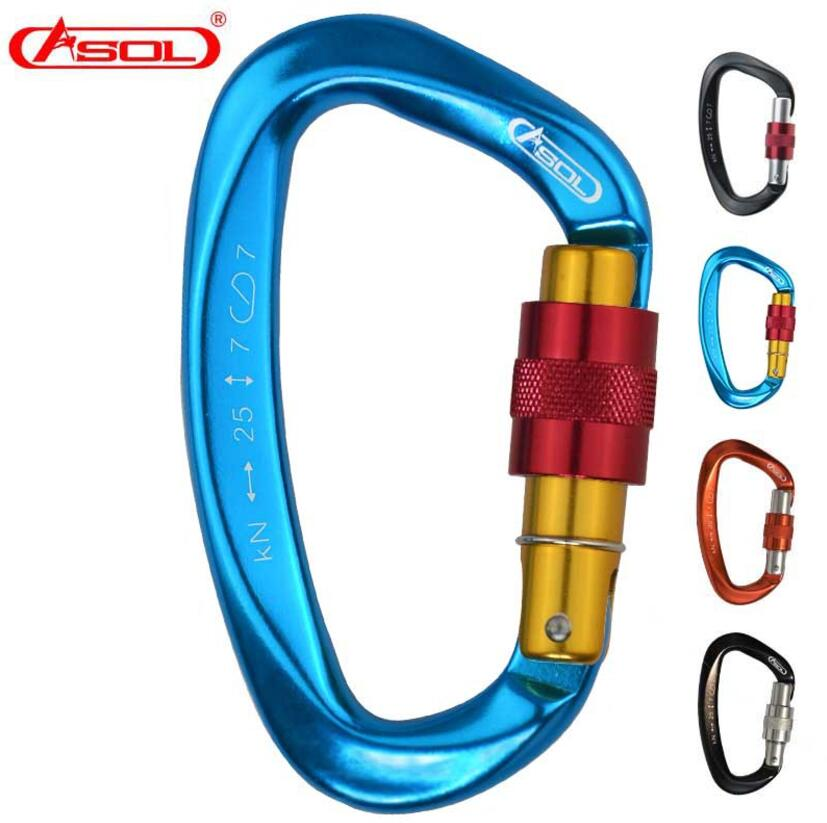 Brand ASOL 25KN Climbing D-shaped Screw Carabiner Safety Hanging Buckle Karabiner Equipment Outdoor Rock Locking Clip climbing