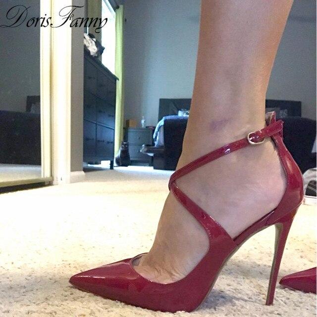 DorisFanny çapraz bağlı siyah bayan topuklar seksi parti pompa ayakkabı 12 cm/10 cm/8 cm/ 6 cm ücretsiz kargo