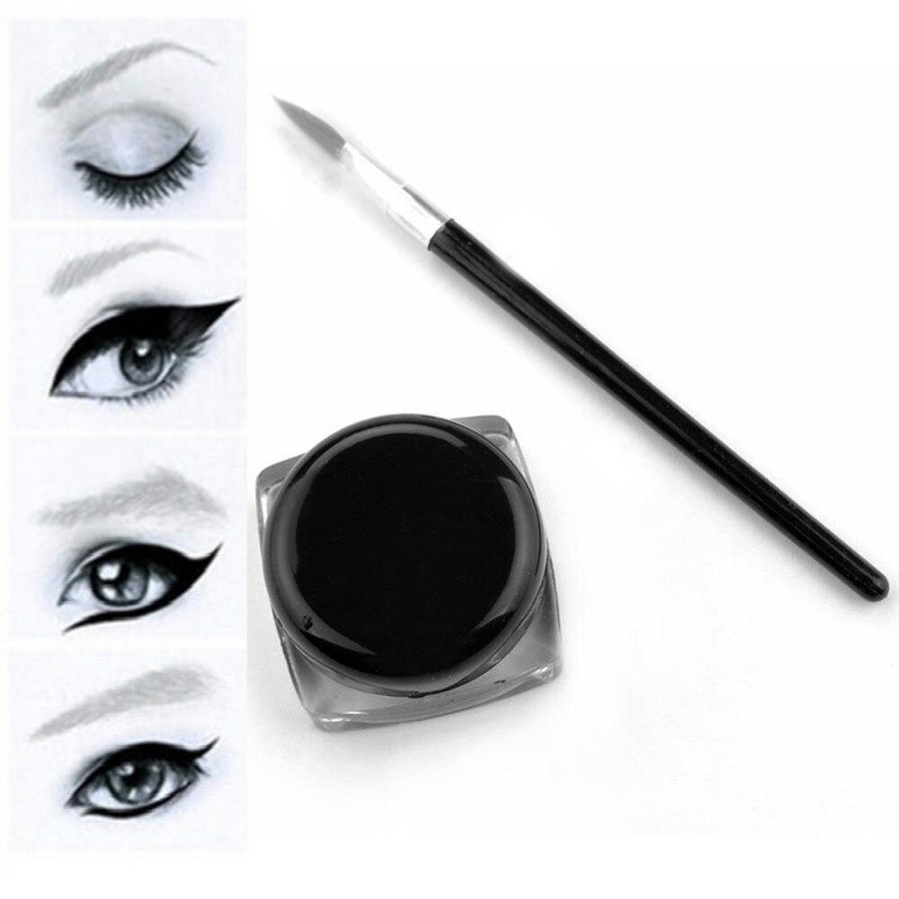 Black Waterproof Eyeliner cream Make Up Beauty Comestics Long lasting Eye Liner gel Makeup Tools for eyeshadow with brush in Eyeliner from Beauty Health