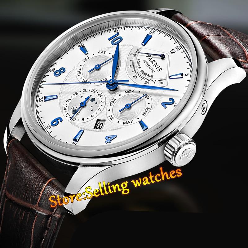 43mm Parnis White Dial Blue Mark Black Dial Sapphire Automatic Sapphire Men s Watch