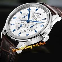 43 мм Parnis Белый Циферблат Синий (Черный Циферблат) Сапфир Автоматическая Сапфир мужские Часы