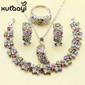 XUTAAYI 4PCS Jewelry Set 925 Sterling Silver Alluring Multicolor Imitation Topaz Earrings Ring Necklace Pendant Bracelet